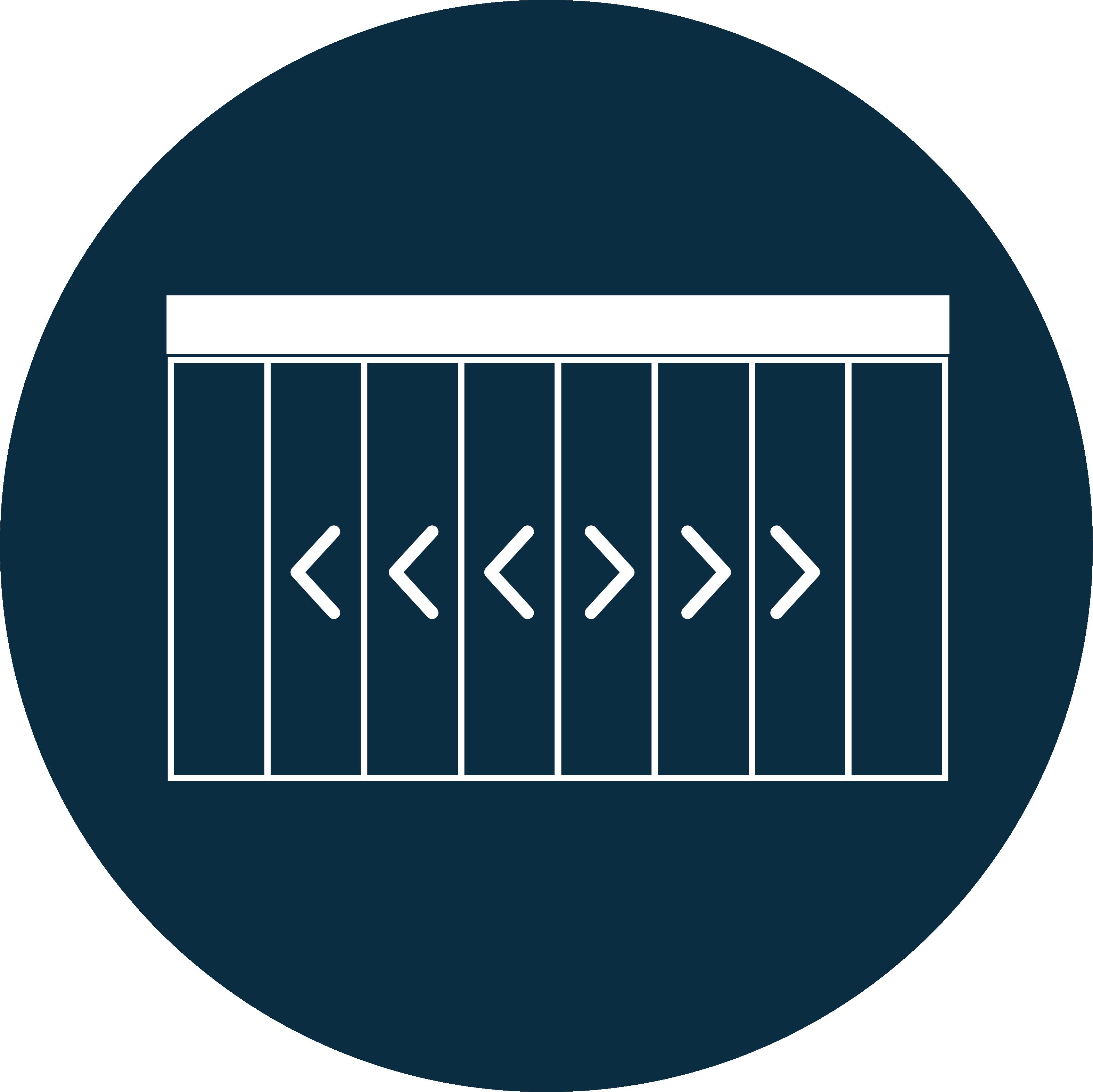 Porte téléscopique 3 vantaux