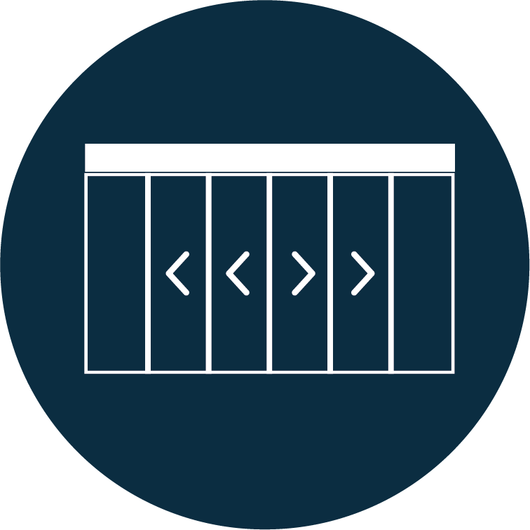 Porte téléscopique 2 vantaux simple ou double